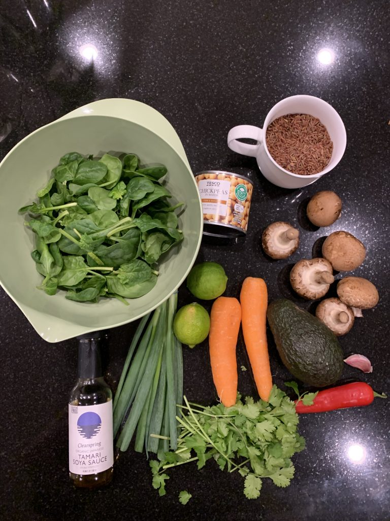 the Ingredients for mushrooms and chickpea salad