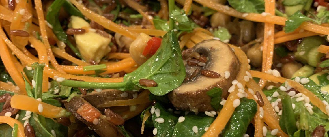 rice and mushroom salad
