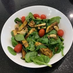 Jerk Tofu and Spinach