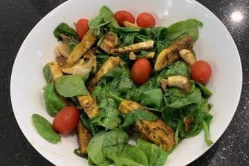 Jerk Tofu, Mushroom and wilted Spinach