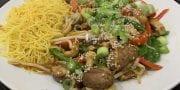 Tofu, Mushroom and Cashew Stir fry with Singapore noodles