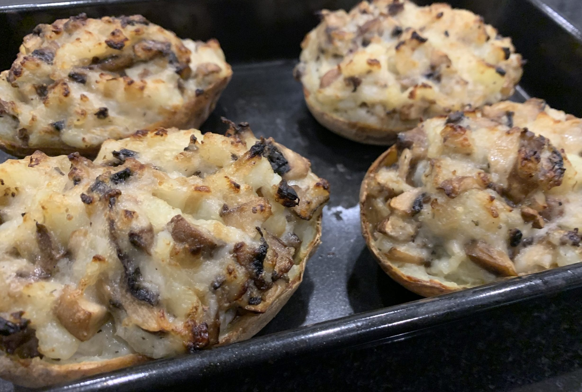 Mushroom stuffed Jacket potatoes