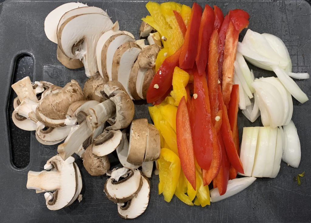 chopped mushrooms and peppers