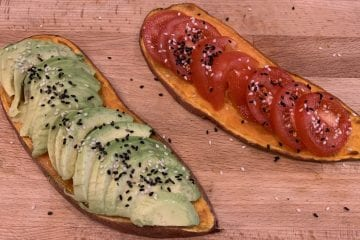 Sweet potato toast with avocado & tomato toppings