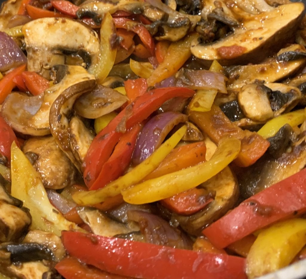 mushrooms and peppers