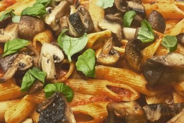 Penne Pasta, Mushrooms and  tomato sauce