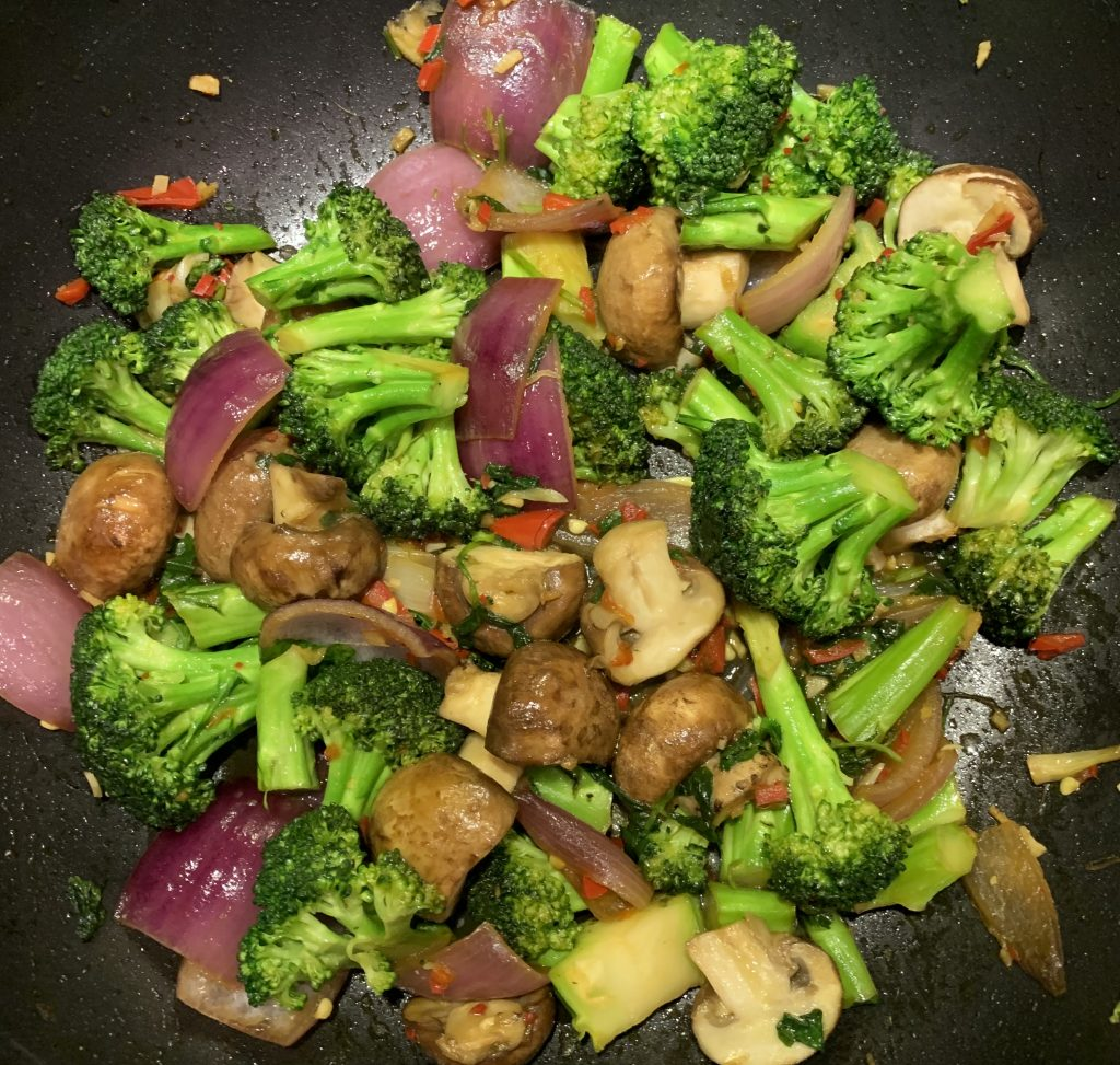 Broccoli and Mushroom Stir Fry in a Ginger, Garlic and Chilli Soy dressing