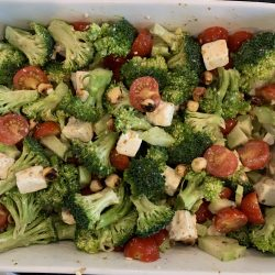 broccoli, tomato, hazelnut salad