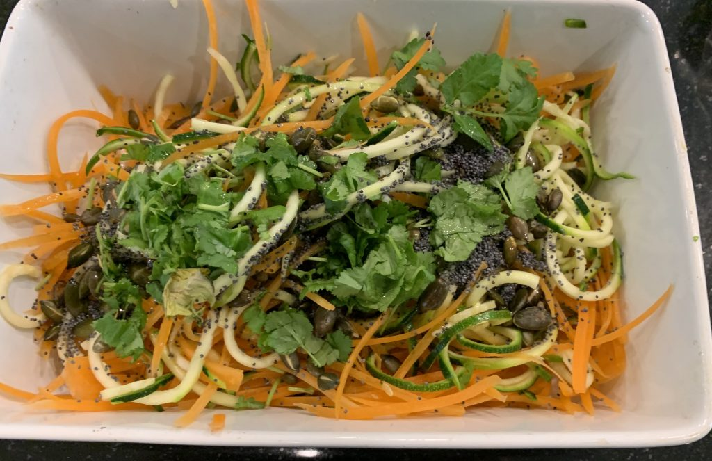 Courgette, carrot, pumpkin seed, poppy seed salad