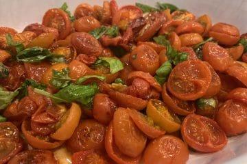 Slow roasted tomato and basil salad