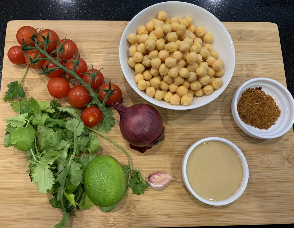 Moroccan flavoured chickpea & toasted sunflower seed salad