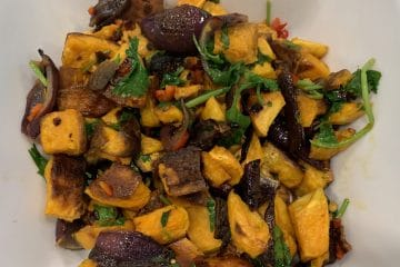 Warm Sweet Potato Salad with a Lime, Chilli & Coriander dressing