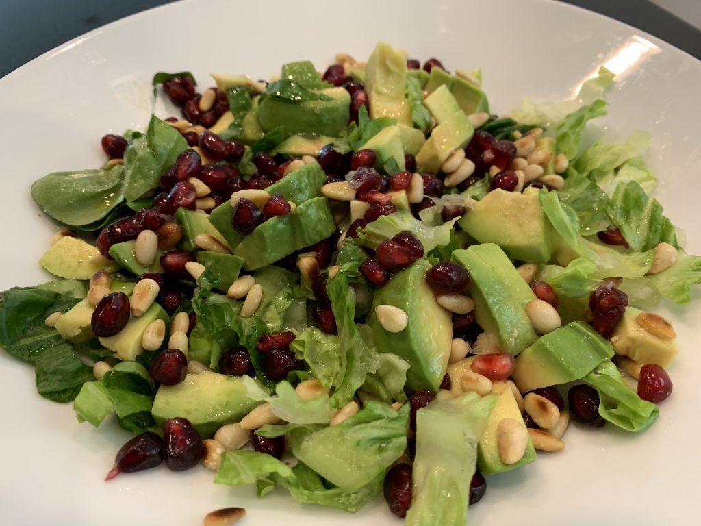 Pomegranate, toasted pine nut and avocado salad