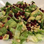 Pomegranate, toasted pine nuts and avocado salad