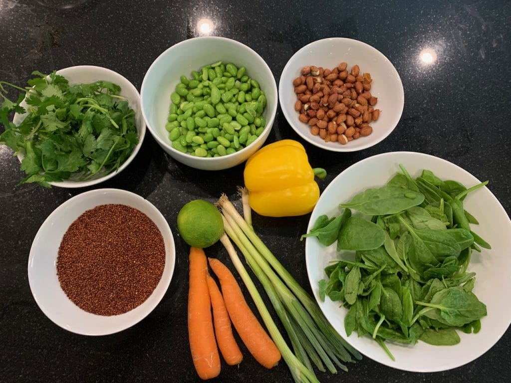 Edamame, quinoa and  peanut salad in a lime and chilli dressing