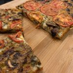 Farinata with red pepper and mushroom