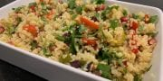 Bulgur wheat with peppers, pomegranate & Pine Nuts