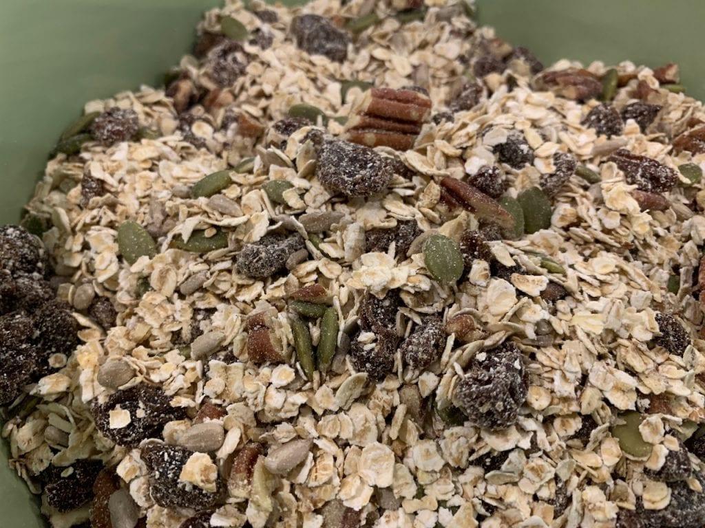 Seedy nutty fruity flapjacks