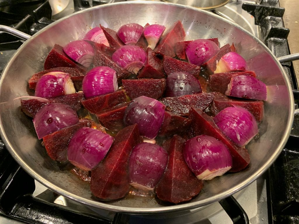 Beetroot and red onion tarte tatin