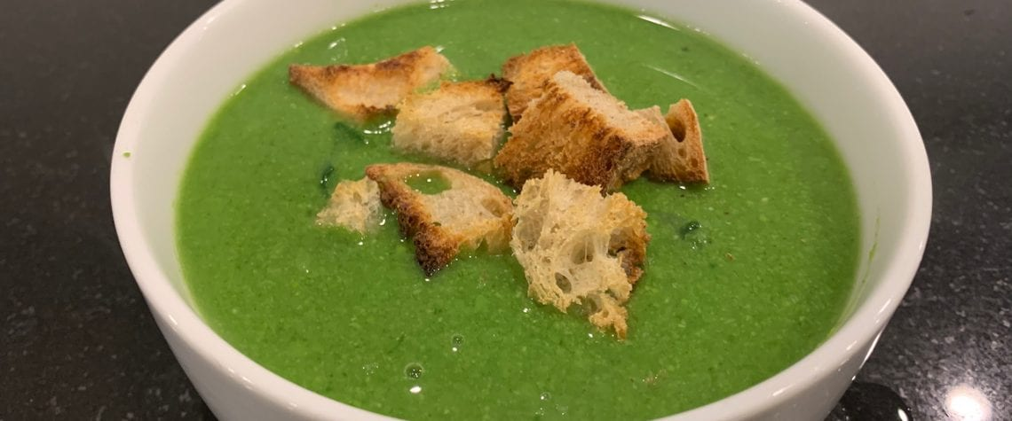Pea and Spinach soup with sourdough croutons